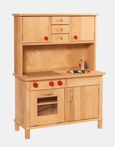 hochwertige Kinderküche aus Holz mit Aufsatz