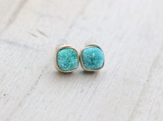 Turquoise Druzy Studs, Cushion Cut Blue Green Quartz Gemstones In Gold, Rose, Sterling Silver
