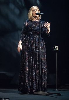 Adele in Burberry custom dress - On stage in Belfast, opening night of her European and North American Tour.  (29 February 2016)