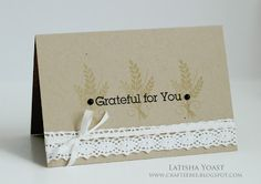 Latisha Yoast brings in the fall with this soft, vintagey style design showcasing the wheat stamp in next months set.