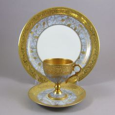 Limoges Unic Paris -  Gold Dore Inlay Porcelain Demitasse Cup Saucer & Plate