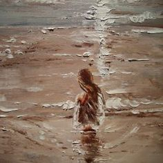 OIL ON CANVAS 60x50cm olny one, original painting - palette knife - with Certificate of Authenticity HALLO EVERYONE :) I HAVE SIMMILAR GIRL WITH SEA, JUST HAVE A LOOK : https://www.artfin...