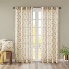 Madison Park Westmont Fretwork Print Pattern Single Curtain Panel x - Beige/Gold)(Polyester Blend, Geometric) Valances For Living Room, Living Room Windows, Living Room Bedroom, Curtains Living, Patio Door Curtains, Patio Doors, Grommet Curtains, Drapes Curtains, Single Patio Door
