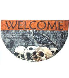 Maker's Halloween Welcome Door Mat With Skulls