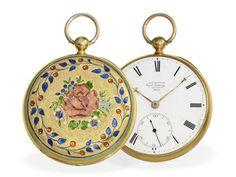 Taschenuhr: exquisite englische Gold/Emaille-Taschenuhr, bedeutender Uhrmacher, James McCabe London