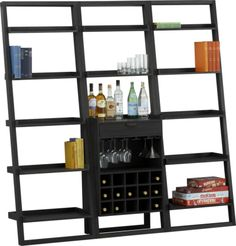 """Sloane Grey Leaning Wine Bar with Two 25.5"""" Bookcases  