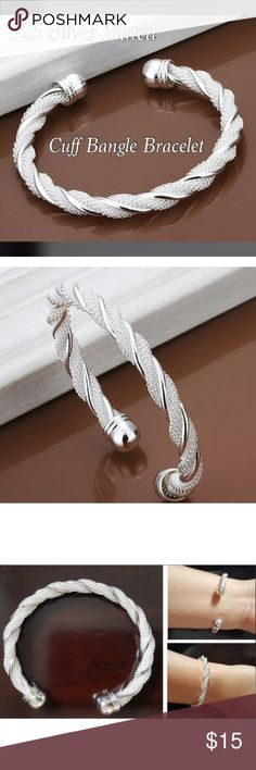 925 Silver Plated Bangle Twisted Bracelet ✨ This is a beautiful twisted bangle bracelet. Made from 925 Sterling Silver & Copper. Length / Perimeter: Approximately 19cm ( Around 7.5 inches ) This is a new item and can compliment any fashion sense. Jewelry Bracelets