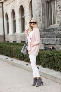 Need blush pink cardigan, white top, gray boots
