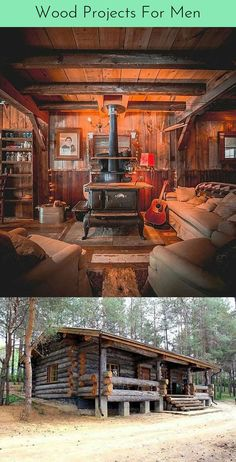 Tiny Log Cabins, Small Log Cabin, Diy Cabin, Rustic Cabin Decor, Rustic Houses, Woodworking At Home, Woodworking Lathe, Build A Farmhouse Table, Cheap Furniture Stores