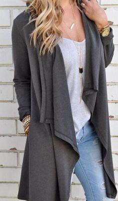 Causal Women Cardigan Long Sleeve Irregular Long Female Grey Thin Sweater Loose Ladies Coat Slim Outerwear Plus Size Cardigans For Women, Coats For Women, Jackets For Women, Clothes For Women, Poncho Coat, Knit Cardigan, Long Cardigan, Cardigan Sweaters, Maxi Coat