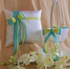 Tiffany Blue and Yellow Wedding Colors Flower Girl...