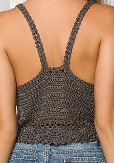 Olive Crochet Crop Top – Oberteile – Kleidung - New Sites Débardeurs Au Crochet, Gilet Crochet, Tunisian Crochet Stitches, Crochet Crop Top, Crochet Stitches Patterns, Crochet Woman, Crochet Blouse, Crochet Designs, Crochet Bikini