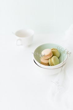 ... vanilla and pistachio macarons ...