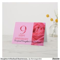 Shop Daughter & Husband Anniversary Card Pink Rose created by therosegarden. Anniversary Cards For Husband, Wedding Anniversary, Custom Greeting Cards, Thoughtful Gifts, Wedding Cards, Daughter, Place Card Holders, Invitations, Rose
