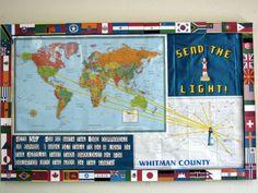 A missions theme bulletin board.