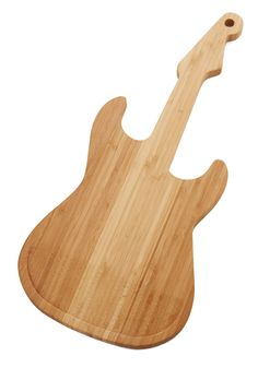 Yummy Strumming Cutting Board. Shredding it on your guitar takes on new meaning with this guitar-shaped wooden cutting board by Kikkerland! #tan #modcloth