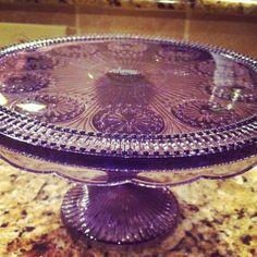 Purple glass cake stand, beautiful