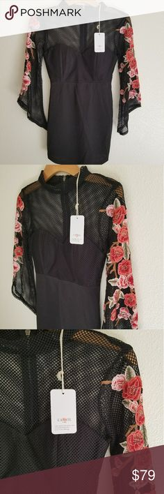 NWT* L'atiste Gorgeous Floral Embroidered Dress* NWT* L'atiste Floral Embroidered Dress* Size: Medium* Elegant & Trending Style* Black High Quality Dress with Gorgeous Floral Embroidered on the Bell Sleeves* A stunning dress & Design* Reasonable offers avcepted* Feel free to Inquire & ask questions* Sold Out Style* Bundle & Save* L'atiste Dresses