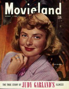 "Ingrid Bergman on the cover of ""Movieland"" magazine, USA, November 1947."