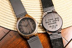 For Sale is a stunning wooden wrist watch that has the brilliantly unique attribute of being custom made for your special someone be laser etching into
