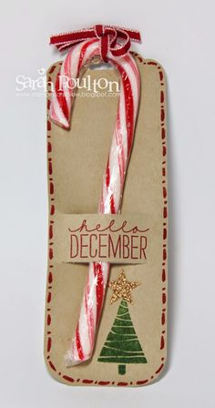 : A quick Candy Cane December Wonder Tag Swap from Stampin… Stampin' Sarah!: A quick Candy Cane December Wonder Tag Swap from Stampin' Up! Stampin Up Christmas, Christmas Gift Tags, Christmas Paper, Christmas Wrapping, Christmas Candy, Handmade Christmas, Christmas Holidays, Pop Up Christmas Cards, Primitive Christmas