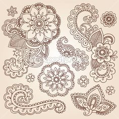 Henna Mehndi Doodles Abstract Floral Paisley Design Elements — Stock Vector #13916423