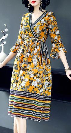Chic V-Neck Floral Print Silk A-Line Dress