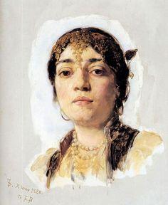 Frank Duveneck (1848-1919) . Head of an Oriental Woman, 1880 . Oil on canvas