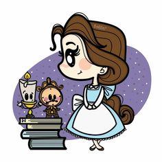 Beauty and the Beast Kawaii Disney, Disney Nerd, Arte Disney, Disney Fan Art, Disney Love, Disney Magic, Cute Disney Drawings, Disney Princess Drawings, Cute Disney Wallpaper