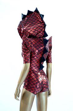 Red & Black Metallic Scale Spiked Dragon Hoodie Romper Little Mermaid Play, Dragon Hoodie, Peplum Dress, Rompers, Red Black, Costumes, Hoodies, Scale, Celebrities