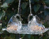 Vintage Punch Cup Hanging Bird Feeder Glass repurposed. $23.00, via Etsy.