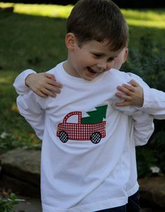 Boy Christmas Truck Applique Shirt. $18.00, via Etsy.