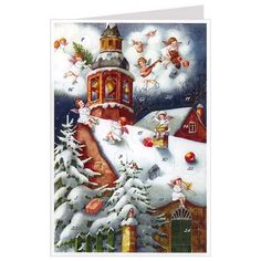 Musican Angels on Snowy Church Roof   Advent Calendar Card 24 numbered windows, one to open each day before Christmas Iridescent glitter accents Made in Germany