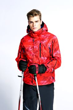 WHS Sportswear Men's Spring Front-Zip Hooded Raincoat Outdoor Waterproof Skiing Jacket