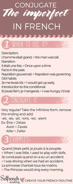 Conjugation: the imperfect tense in French