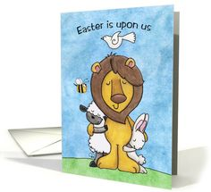 Happy Easter-Lion and Lamb with Bunny and Dove card