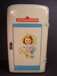 VINTAGE METAL CHILD'S TOY REFRIGERATOR, MODERN TOYS JAPAN