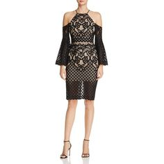 Bardot Lace Bell-Sleeve Halter Dress ($140) ❤ liked on Polyvore featuring dresses, black, lace halter dress, cutout dresses, halter neck dress, cut-out dresses and print cocktail dress