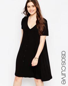 Image 1 ofASOS CURVE Button Front Swing Dress