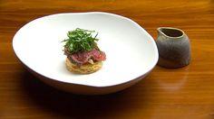 Beef Tataki Wellington with Shimeji Mushrooms, Horseradish and Spicy Black Pepper Sauce
