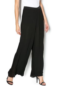 """Flowy wide leg palazzo pants with sheer vertical pleated,shortlining, structured waist and aside zipper closure.    Measures: 39"""" L   Evening Palazzo Pants by Endless Rose. Clothing - Bottoms - Pants & Leggings - Black Clothing - Bottoms - Pants & Leggings - Flare & Wide Leg New York City"""