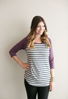 *pre-sale* Baseball tee - purple/navy grey stripe (ships in 2 to 4 weeks) - Buttercream Clothing Comfortable Fashion, Comfortable Outfits, Grey Stripes, Bamboo, Cotton Fabric, Ships, Baseball, Navy, Purple