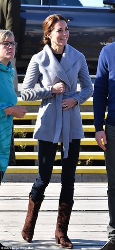 For outfit seven, Kate wore £707 grey outerwear with ribbed sleeves and belted waist by Sentaler. Kate paired the coat with skinny jeans and £295 R.Soles cowboy boots and the laid back look and flat shoes were perfect for their trip up Montana mountain. Read more: http://www.dailymail.co.uk/femail/article-3815369/Duchess-Cambridge-s-66-000-Canada-wardrobe-expensive-yet.html#ixzz4LxVQkYPL Follow us: @MailOnline on Twitter | DailyMail on Facebook.