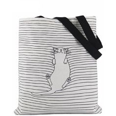 CUTE CAT CANVAS TOTE BAG 2 COLORS KOREAN STYLE ($15) ❤ liked on Polyvore featuring bags, handbags, tote bags, canvas handbags, cat tote, tote hand bags, handbags totes and canvas tote purse