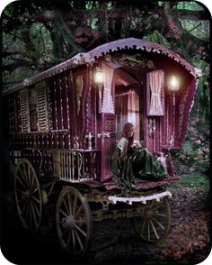 One of my alter-egos (I have a few) is a gypsy named Matilda. She lives and travels in a gypsy caravan called a vardo pulled by 2 horses –named Roulette and Myrna. source By day, she travels all over the. Glamping, Caravan Renovation, Gypsy Living, Caravan Living, Bohemian Living, Gypsy Wagon, She Sheds, Gypsy Life, Boho Life