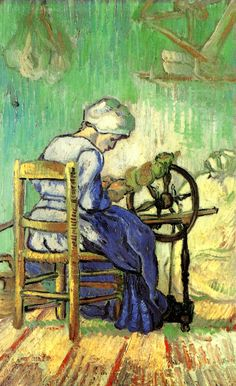 """""""The Spinner (after Millet)"""" (Saint-Rémy, Sep Vincent Willem van Gogh Mar 1853 – 29 Jul was a Dutch Post-Impressionist painter who is among the most famous and influential figures in the history of Western art. Tel Aviv Museum of Art, Israel Vincent Van Gogh, Van Gogh Art, Art Van, Desenhos Van Gogh, Van Gogh Pinturas, Van Gogh Paintings, Dutch Artists, Monet, Rembrandt"""