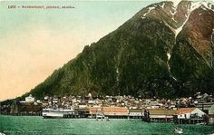 Juneau Alaska 1908 Waterfront View State Capitol Antique Vintage Postcard Juneau Alaska AK Circa 1908 Harbor view of waterfront and town with Juneau Mountain in background. Unused Edward H. Mitchell a