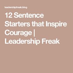 12 Sentence Starters