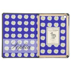 Custom Monogram iPad Air Case blue white daisies
