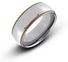 8MM CZ Comfort Fit Mens Black Titanium Wedding Band Ring